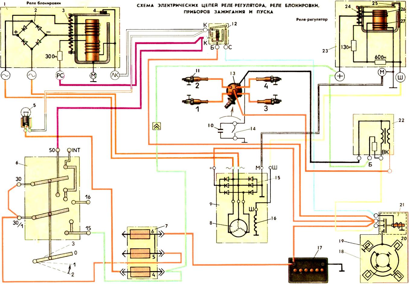 Схема электрических цепей реле блокировки РБ1, реле-регулятора РР-310В, приборов зажигания и пуска автомобиля ЗАЗ-968М Запорожец